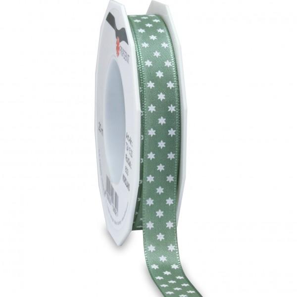 Sternchenband: NORDLAND: 15mm breit/ 20m- Rolle, altgrün