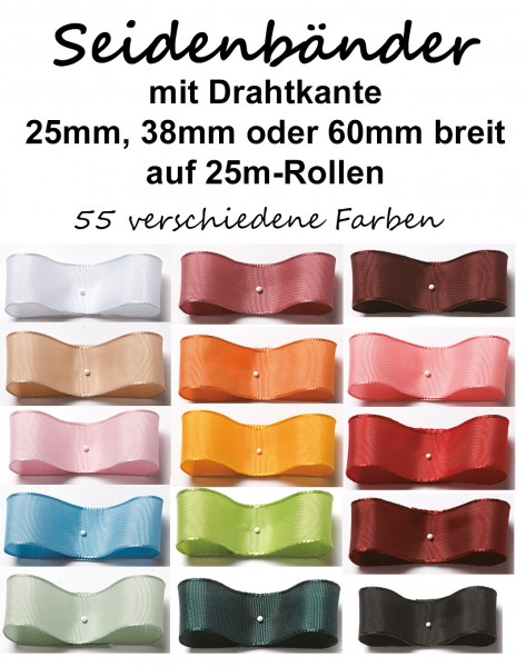 Seidenband mit Drahtkante 25mm, 38mm oder 60mm breit / 25m-Rollen