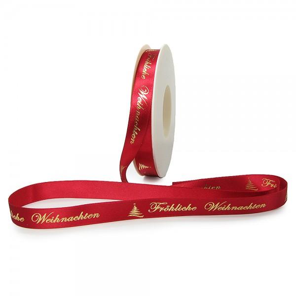 Weihnachtsband-Satin-15mm breit/25m Rolle, rot, gold-hochglanz