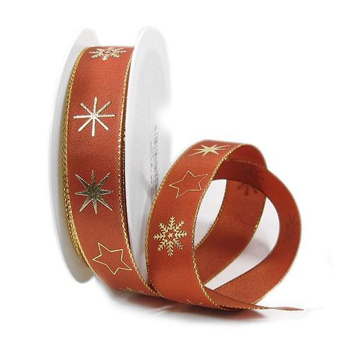 Weihnachtsband-MERCURY: 25mm breit / 25m-Rolle, terracotta-gold