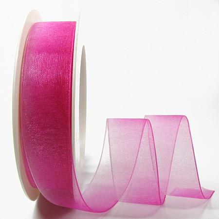RAINBOW-Organzaband: 25mm breit / 25m-Rolle, rosa-pink.