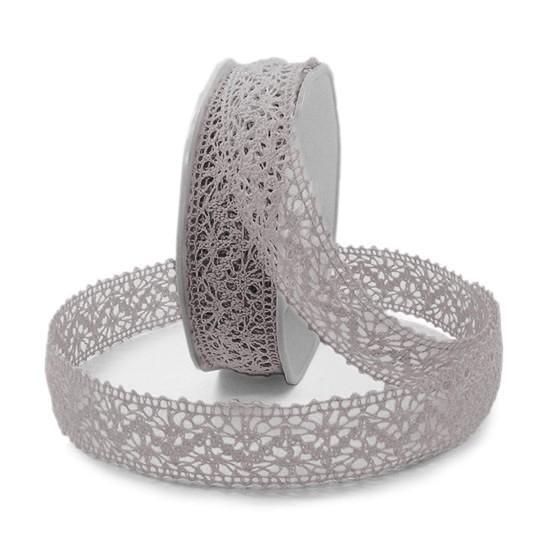 Häkelband, hellgrau: 22mm breit / 10m-Rolle