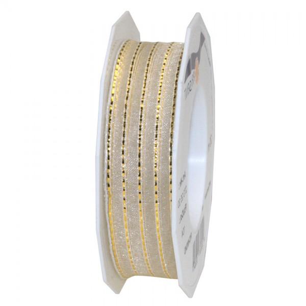 Richmond, creme-gold: 25mm breit / 20m-Rolle, mit Drahtkante