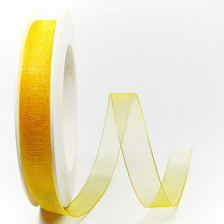 Organzaband gelb: 15mm breit / 25m-Rolle