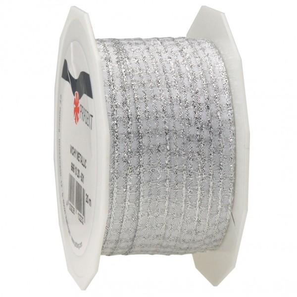 Vichy-METALLIC-Karoband, silber-weiss: 10mm breit / 20m-Rolle