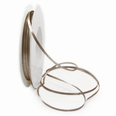 Satinband-SINFINITY, taupe: 6mm breit / 50m-Rolle, mit feiner Webkante.