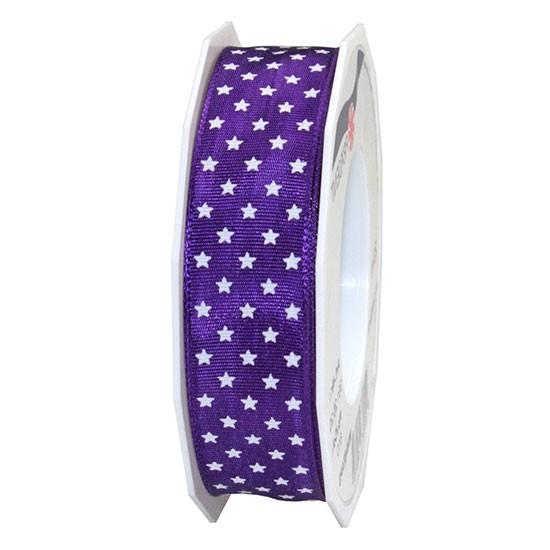Weihnachtsband MINI-STARS: 25mm breit / 20m-Rolle, violett