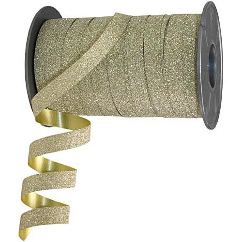 Polyband-Glitter: 10mm breit / 100m-Rolle, gold