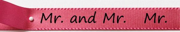 Hochzeitsband pink Mr. & Mr. : 15mm breit / 25m-Rolle