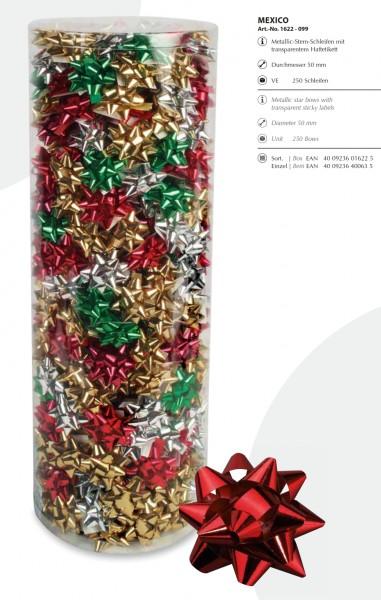 """STERN-Schleifen """"Mexico"""": 250-Stück-Box, farblich bunt gemischt: Durchmesser ca. 50mm"""