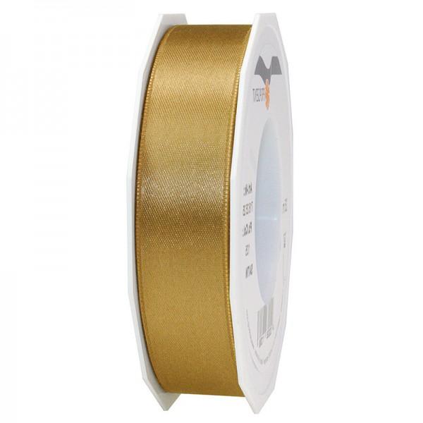 Satinband-PRÄSENT, gold: 25mm breit / 25m-Rolle, mit feiner Webkante.