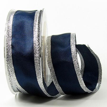 Dekoband Classic 38mm breit / 25m, blau-silber
