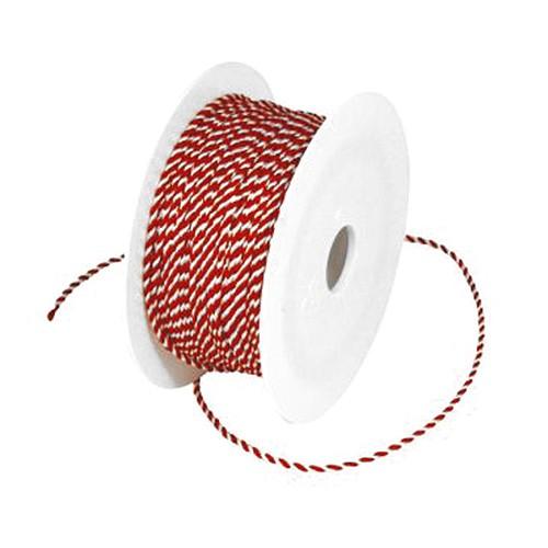 Kordel, rot-weiß: 2mm breit / 50m-Rolle.