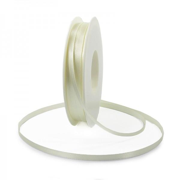 Satinband SINFINITY, creme: 6mm breit / 50m-Rolle, mit feiner Webkante.