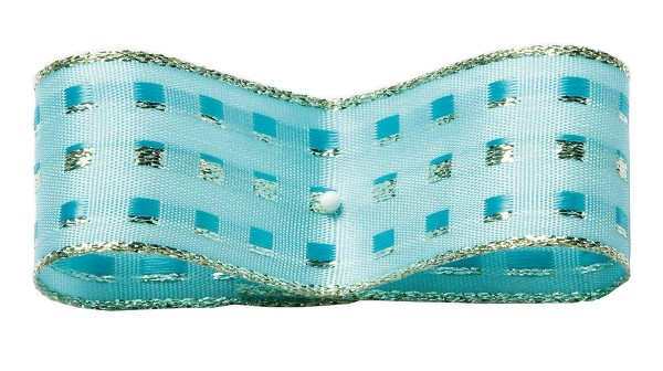 Dekorband-GLAMOUR, hellblau-silber: 38mm breit / 25m-Rolle, mit Drahtkante