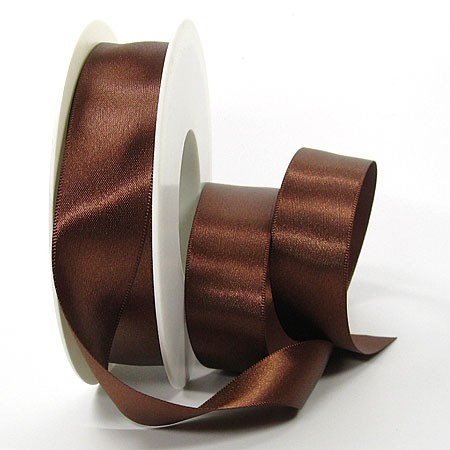 Satinband-SINFINITY, kaffeebraun: 25mm breit / 25m-Rolle, mit feiner Webkante