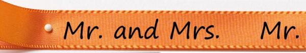 """Hochzeitsband """"Mr & Mrs"""" 15mm breit/25m Rolle orange"""