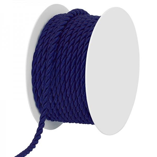 Kordel, dunkelblau - einfarbig gedreht: 4mm breit Ø / 25m-Rolle