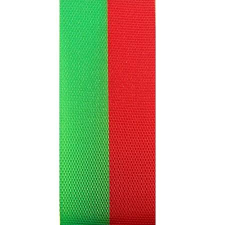 Vereinsband Schützenband, grün-rot, 15mm breit / 25m-Rolle