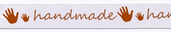 Satinband handmade: 15mm breit / 25m-Rolle weiss-mandelbraun