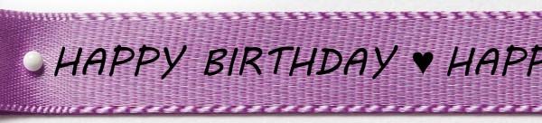 Satinband-HAPPY BIRTHDAY-schwarze Schrift: 15mm breit / 25m-Rolle, lavendel