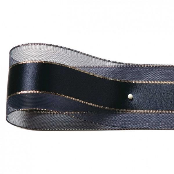 Dekorband-SHINY, nachtblau-gold: 38mm breit / 25m-Rolle