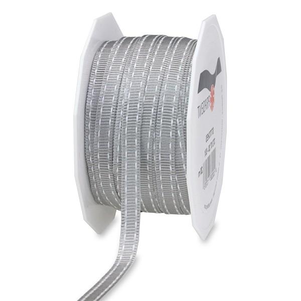 Ripsband-STITCHES, 7mm breit / 20m-Rolle, hellgrau