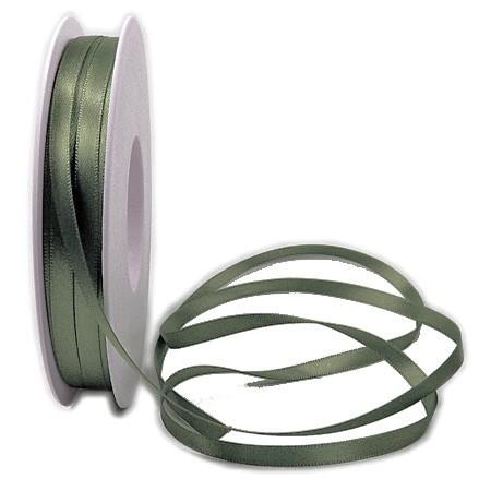 Satinband SINFINITY, olivgrün: 6mm breit / 50m-Rolle, mit feiner Webkante.