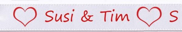 Beispiel Hochzeitsband- weiss: individuell bedruckt: 15mm breit / 25m-Rolle