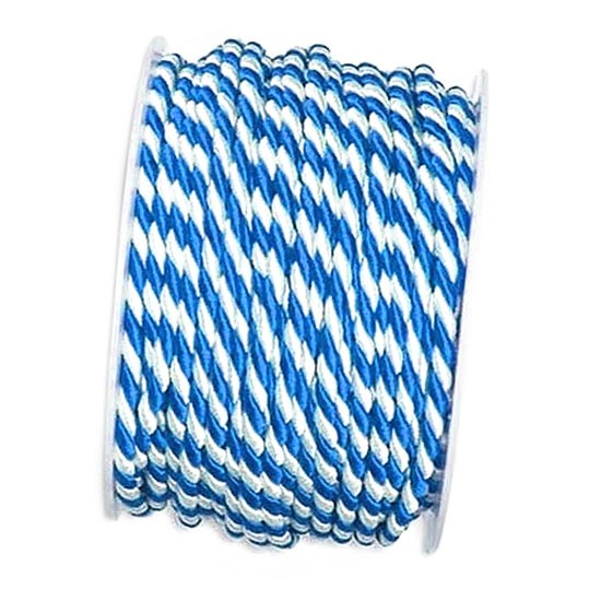 Kordel, blau-weiß: 4mm breit / 25m-Rolle