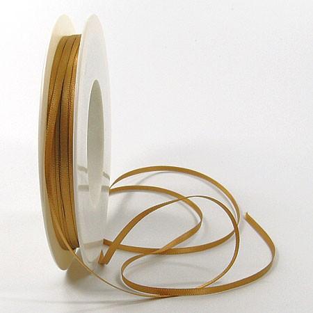 Satinband SINFINITY, gold: 3mm breit / 50m-Rolle, mit feiner Webkante.