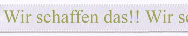hr Text auf Satinband weiss-gold mit Classic Schrift: 15mm breit / 25m-Rolle