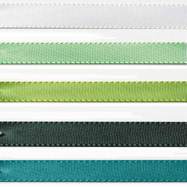 Satinband-Set grün: 5 Farben je 3m-Länge