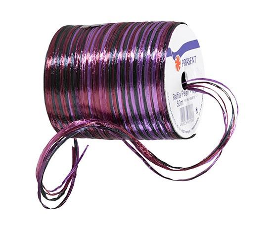 Raffia Pearl - Multi Bindebast, aubergine-lila-violett-blau - 50m-Rolle