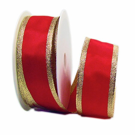 Classic, rot-gold: 38mm breit / 25m-Rolle, mit Drahtkante