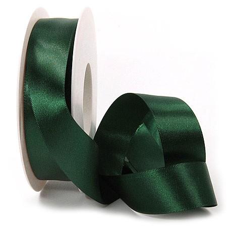 Satinband SINFINITY, tannengrün: 25mm breit / 25m-Rolle, mit feiner Webkante.