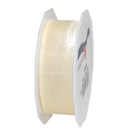 Organzaband-Sheer: 25mm breit / 25m-Rolle, creme
