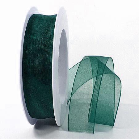 Organzaband, tannengrün: 25mm breit / 25m-Rolle