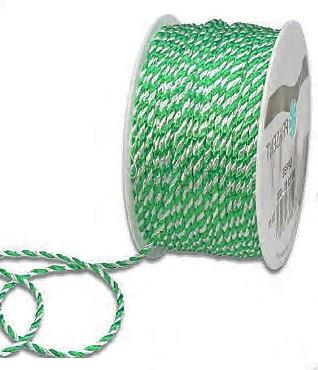 Kordel, grün-weiß: 2mm breit / 50m-Rolle