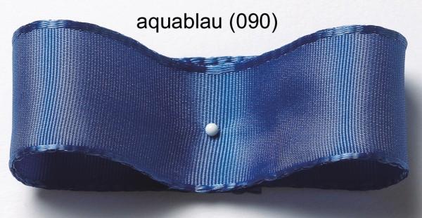 Seiden-Satinband mit Drahtkante: 38mm breit / 25m-Rolle, aquablau