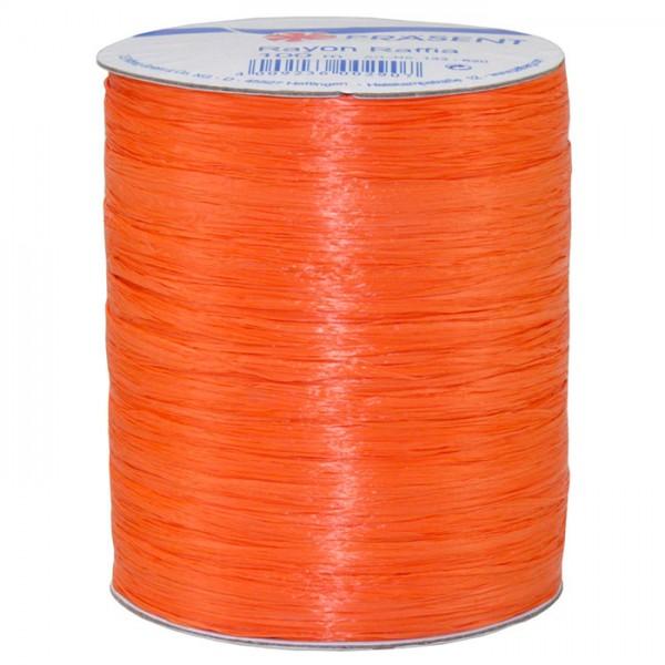 Raffia - RAYON, Bindebast: 5mm breit / 100m-Rolle, orange