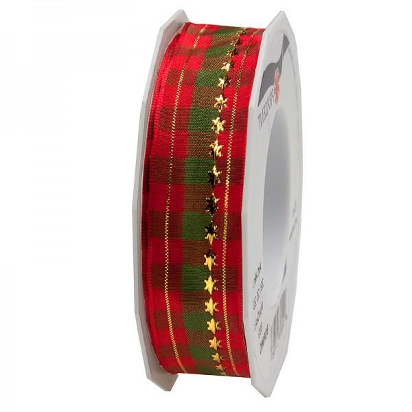 Weihnachtsband - BORMIO: 25mm breit / 20m-Rolle, rot-grün-gold