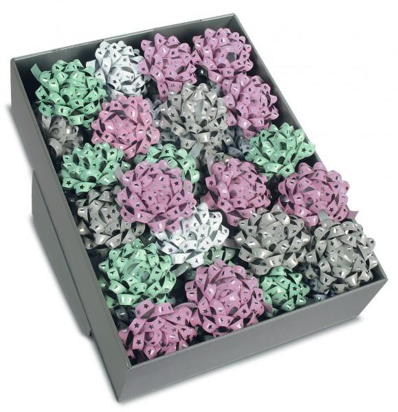 Verkaufsbox GLOSSY: 40Fertigschleifen in weiss, schilfgrün, rosa und taupe mit silbernen Sternen
