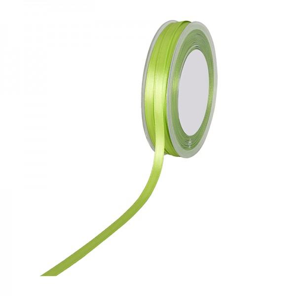Satinband SIMPEL, lindgrün: 6 mm breit / 50 Meter, mit einfacher schlichter Webkante.