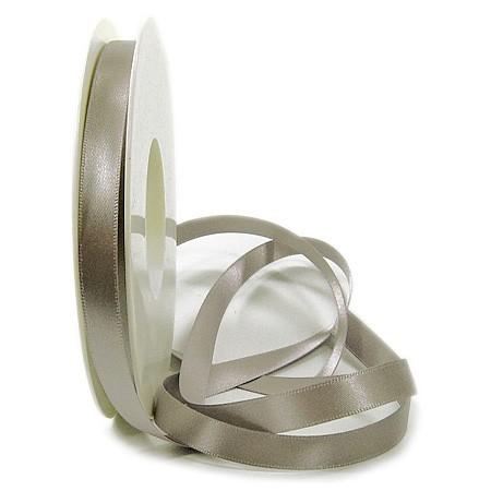 Satinband SINFINITY, taupe: 10mm breit / 25m-Rolle, mit feiner Webkante.