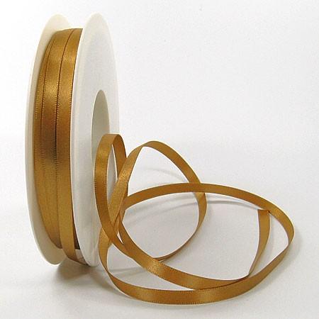 Satinband SINFINITY, gold: 6mm breit / 50m-Rolle, mit feiner Webkante.