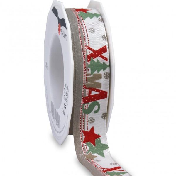 Weihnachtsband-XMAS: 25mm breit / 20m-Rolle, mit Webkante, creme-rot