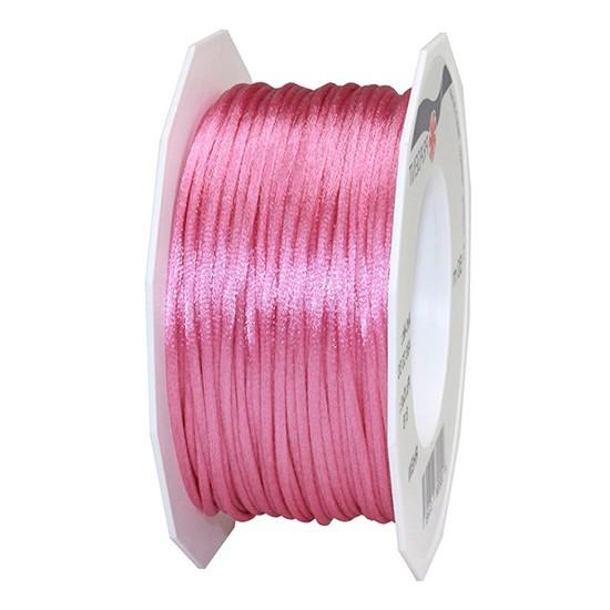 Satinkordel-RHEIN, pink: 3 mm breit - 50-Meter-Rolle