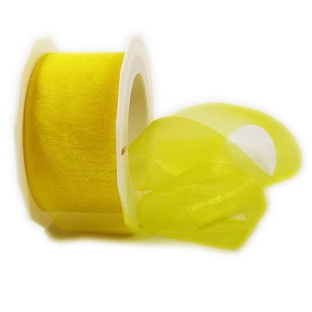 Organzaband-Sheer: 40mm breit / 25m-Rolle, gelb.