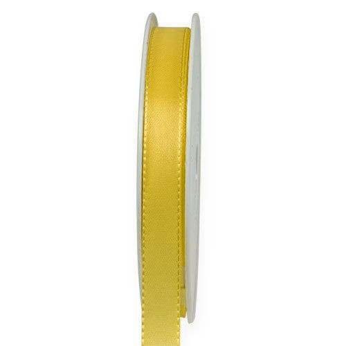 Taftband, hellgelb: 10mm breit / 50-Rolle, mit feiner Webkante